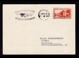Landschaft 20 C. auf Werbe-Postkarte der Firma Sieger ab Saarbrücken 31.10.31