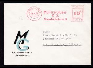 AFS SAARBRÜCKEN 3 08.2.55 Müller & Gräser K.G. mSaarbrücken 3 POST-SAAR 012 F