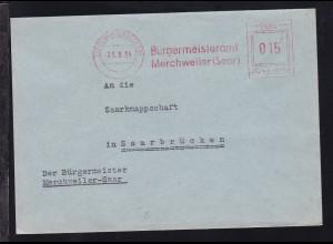 AFS MERCHWEILER (SAAR) 26.5.54 Bürgermeisteramt Merchweiler (Saar) POST-SAAR
