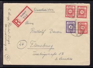 Ziffer 6 Pfg. und 12 Pfg. (3x) auf R-Brief ab Freital 25.1.46 nach Flensburg