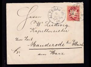 Wappen 10 Pfg. auf Brief mit K1 ALZENAU Ufr. 6 AUG 05 nach Handerode bei Ellrich