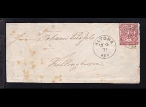 Ziffer 1 Gr. auf Brief mit K1 ALTONA 19.3.71 nach Kellinghusen, Brief unfrisch