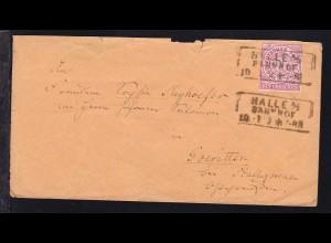 Ziffer 1 Gr. auf Brief mit R3 HALLE A/S BAHNHOF 10.11. nach Goeritten bei