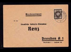 Ziffer 3 Pfg. auf Werbeantwort (Lotterie-Einnahme Renz, Dresden)