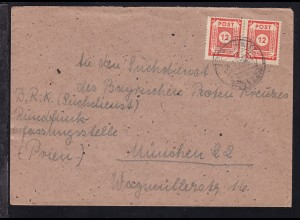 Ziffer 12 Pfg. waager. Paar auf brief ab Neschwitz 06.3.46 nach München