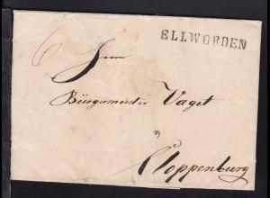 Ellwürden 1843 L1 ELLWÜRDEN auf Brief nach Cloppenburg, signiert Lange