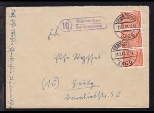 Ziffer 8 Pfg. Dreierstreifen auf Brief ab Blankenhain über Crimmitschau 28.3.46