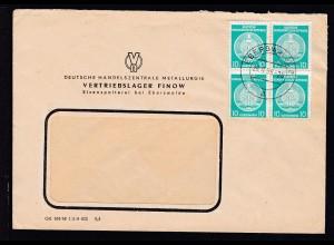 Staatswappen 10 Pfg. Viererblock auf Fensterbrief (Deutsche Handelszentrale
