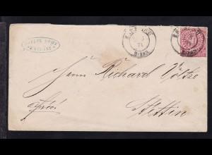 Ziffer 1 Gr. auf Brief mit K2 BRESLAU 2.3.71 nach Stettin