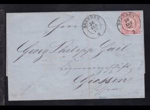 Ziffer 1 Gr. auf Brief mit K2 DRESDEN 26 FEB 70 nach Giessen