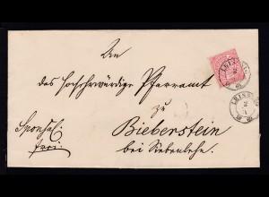 Ziffer 1 Gr. auf Briefhülle mit K2 LEISSNIG 2.IV.69 nach Biberstein