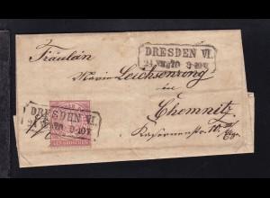 Ziffer 1 Gr. auf Briefhülle mit R2 DRESDEN VI 24.VII.70 nach Chemnitz,