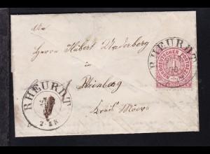 Ziffer 1 Gr. auf Brief mit K2 RHEURDT 25.7.70 nach Rheinberg Kreis Moers