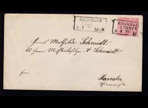 Ziffer 1 Gr. auf Brief mit R3 HAMMOVER LINDEN 5.1.70 nach Hameln