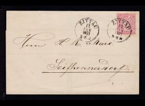Ziffer 1 Gr. auf Briefhülle mit K1 ZITTAU 14 JAN 1871 nach Seifhennersdorf