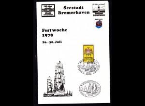 Bremerhaven 1978 Gedenkblatt 150 Jahre Seesradt Bremerhaven