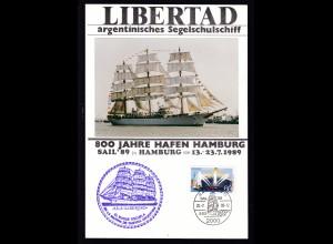 """Hamburg 1989 Gedenkblatt 800 Jahre Hafen Hamburg-Segelschulschiff """"Libertad"""""""