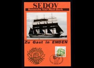 """Emden 1993 Gedenkblatt russische Viermastbark """"Sedov"""" zu Gast in Emden"""