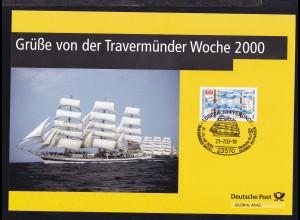 Lübeck 2000Gedenkblatt Grüße von der Travemünder Woche