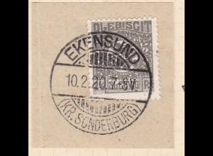 Wappen 2½ Pfg. auf Briefstück mit Stempel EKENSUND (KR. SONDERBURG) 10.2.20