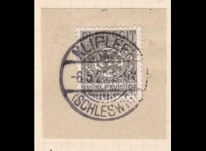 Wappen 2½ Pfg. auf Briefstück mit Stempel KLIPLEFF (SCHLESWIG) 8.5.20