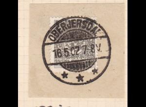 Wappen 2½ Pfg. auf Briefstück mit Stempel OBERJERSDAL *** 16.5.02