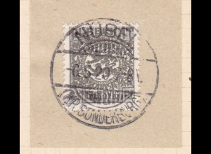 Wappen 2½ Pfg. auf Briefstück mit Stempel NÜBEL (KR. SONDERBURG) 6.5.20