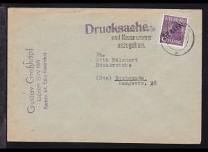 Schwarzaufdruck 6 Pfg. auf Drucksache ab Berlin SW 11 232.2.49 nach Buxtehude