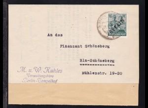 Schwarzaufdruck 16 Pfg. auf Firmenbrief (M. u. W. Kuhles Verwaltungsbüro)