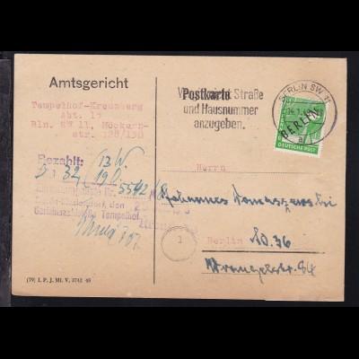 Schwarzaufdruck 10 Pfg. auf Postkarte des Amtsgericht Tempelhof-Kreuzberg