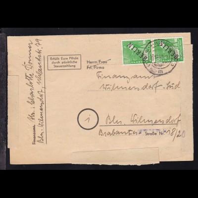 Schwarzaufdruck 10 Pfg. senkr. Paar auf Brief (Umsatzsteuer-Voranmeldung)