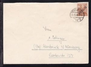 Schwarzaufdruck 24 Pfg. auf Brief ab Berlin SW 61 21.12.48 nach Hersbruck bei