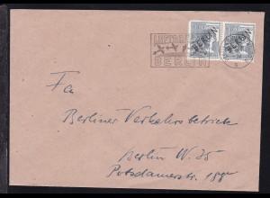 Schwarzaufdruck 12 Pfg. waager. Paar auf Brief mit Luftbrücken-Stempel