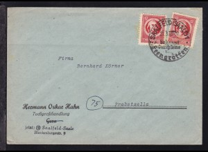 Freimarke 12 Pfg. 2x auf Firmenbrief (Hermann Oskar Hahn Tuchgroßhandlung,