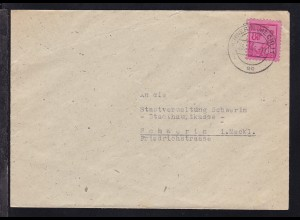 Freimarke 8 Pfg. auf Brief ab Schwerin (Meckl) 23.12.45 nach Schwerin