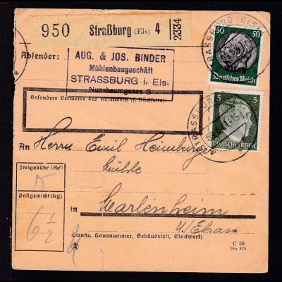 """Hindenburg 50 Pfg. mit Aufdruck """"Elsaß"""" + Hitler 5 Pfg. auf Paketkarte"""