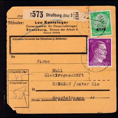 """Hindenburg 5 Pfg. mit Aufdruck """"Elsaß"""" + Hitler 40 Pfg. auf Paketkarte"""