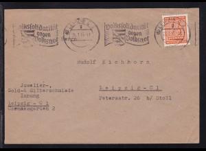 Ziffer 8 Pfg. auf Brief ab Leipzig C 2 26.1.46 nach Leipzig C 1