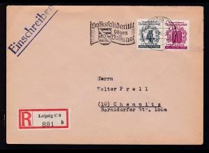 Volkssolidarität 4+3 Pfg. und 60+40 Pfg. auf R-Brief ab Leipzig C 2 5.2.46