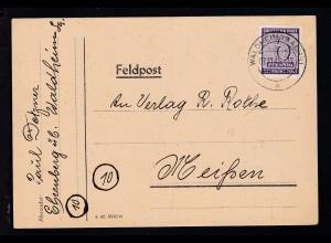 Ziffer 6 Pfg. auf Postkarte ab Waldheim (Sachs) 07.11.45 nach Meißen,