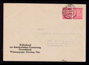 Ziffer 12 Pfg. 2x auf Brief des Kulturbund Wirkungsgruppe Altenburg