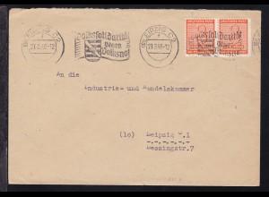 Ziffer 8 Pfg. waager. Paar auf Brief ab Leipzig C 2 27.3.46 nach Leipzig,