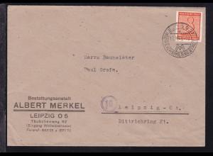 Ziffer 8 Pfg. auf Firmenbrief (Albert Merkel, leipzig) ab Leipzig 17.10.45