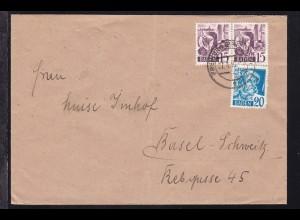 Freimarke 15 Pfg. (waager. Paar) und 20 Pfg. auf Brief ab Freiburg 27.4.48