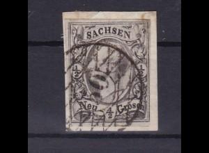 König Johann I ½ Ngr. auf Briefstück mit Nummernstempel 50