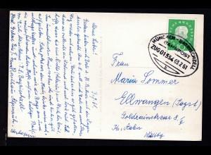 MÜNCHEN-BAYRISCHZELL BAHNPOST b Zug 01334 03.7.61 auf AK (Bayrischzell