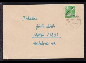 Schwarzaufdruck 10 Pfg. auf Brief ab Berlin-Kladow 18.1.49 nach Berlin SW 29