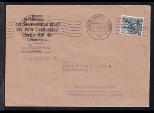 Schwarzaufdruck 16 Pfg. auf Brief der Staatsanwaltschaft beim Landgericht
