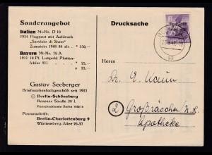 Berliner Bär 6 Pfg. mit SBZ-Aufdruck auf Firmendrucksache (Gustav Seeberger,