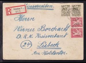 Berliner Bär 12 Pfg. und Eiche je als waager. Paar auf R-Brief ab Potsdam